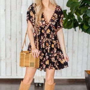 NEW Free People On The Edge Black Floral Romper L
